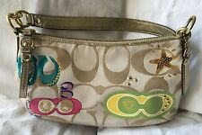 COACH Signature Stripe Applique Demi Crossbody Purse Bag-17589-VERY NICE
