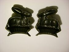 Antique Toy Candy Mold Chocolate Mold Rabbit Sitting in Basket OLD IRON RARE!!!
