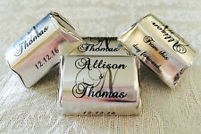 120 SILVER FOIL PERSONALIZED MONOGRAM WEDDING CANDY wrappers/stickers for FAVORS