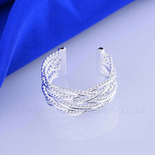925 Sterling Silver Plated 10mm BRAID RING Thumb/ Wrap Ring ADJUSTABLE. Woven