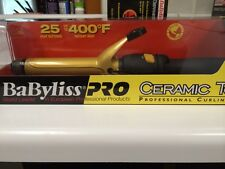 "Babyliss Pro Ceramic 1"" Spring Hair Curling Iron 400F High Heat Dual Voltage New"