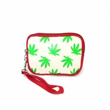 NEW WEED CANNABIS PINK+WHITE+GREEN CANVAS SMALL COIN PURSE,WRISTLET WALLET
