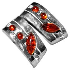7.0g Authentic Baltic Amber 925 Sterling Silver Earrings Jewelry A5612