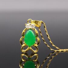 Fashion Cute Natural Drop Green Jade Pendant 24k Gold Plated Zircon Pendant