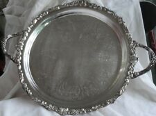 "Silver Plated Tray with Handles - 14"" Diameter"