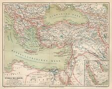 B6032 Turkish Empire - Carta geografica antica del 1890 - Old map