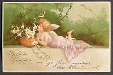 u/s Clapsaddle Beautiful Angel Laying on a Wall w/ Potted Lilies udb 1901 pc