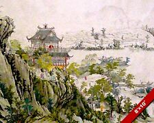 CHINESE TEMPLE ON MOUNTAINSIDE TRADITIONAL PAINTING ART REAL CANVAS PRINT