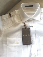 New Gucci Men's White  Fit Red Green Epaulet Military Shirt 17.5 44 223852