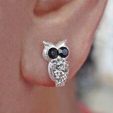 Silver Owl Earrings 925 Sterling Jewellery Pair Crystal Ear Studs Ladies Girls