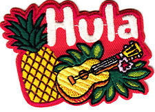 """""""HULA"""" PATCH - GUITAR-TROPICAL - BEACH  - PINEAPPLE/Iron On Embroidered Patch"""