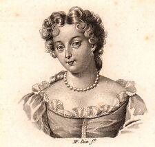 Portrait Marie-Anne de Bourbon Mademoiselle de Blois Fille de Louis XIV  1818