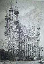 VINTAGE GRAVURE HOTEL DE VILLE DE LOUVAIN par & signée LUCY GARNOT années 1920