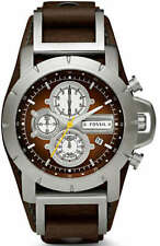 Men's Fossil Jake Chronograph Brown Leather Strap Watch JR1157