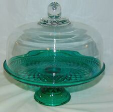 Anchor Hocking WEXFORD  TEAL GREEN *CAKE STAND & DOME COVER/ PUNCH BOWL & LADLE*