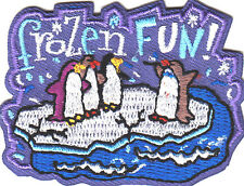 """FROZEN FUN"" w/PENGUINS - Iron On Embroidered Patch / Winter,Games,Animals"