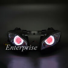 Projector Headlight HID White Angel Red Demon Eyes for Yamaha YZF R6 2006-2007 #