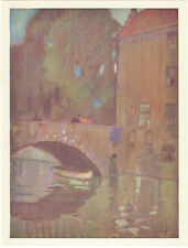 """A Grey Day at Bruges""Print from Pastel Painting by Leonard Richmond-8""x6""approx"