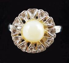 Vintage Faux Pearl SIlver Tone STARBURST Ring Size 7 Adjustable T3