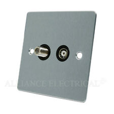 Brushed Satin Chrome Flat TV / Sky Socket - Aerial Coaxial and Satellite Socket