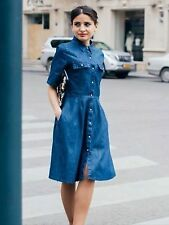 ZARA DENIM DRESS RETRO STYLE FLARED MIDI DARK BLUE SMALL REF. 5899/056 BLOGGERS