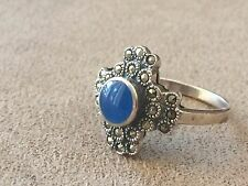 Sterling Silver 925 Marcasite and Lapis Ring Size 9