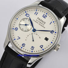 43mm Parnis Seagull Power Reserve Movement Men's White Dial Automatic Watch