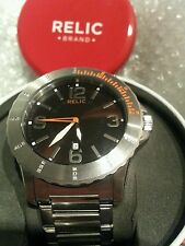 Relic by Fossil Gresham Orange Accent Stainless Steel Watch NEW IN BOX AND TAGS