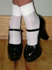 OPAQUE SHINY SATIN FINISH Anklets w/ PLAIN CUFFS - WHITE