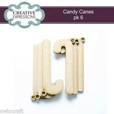 Creative Expressions MDF Shapes Festive Collection CANDY CANESl pk 6