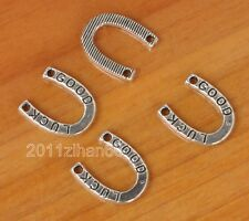 100pcs tibetan silver GOOD LUCK horseshoe beads Pendants Connector B3369