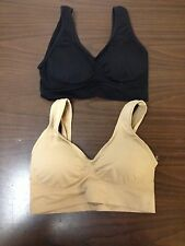 LOT OF 2 NEW GENIE STYLE 1 NUDE 1 BLACK BRA SIZE 3X W/ REMOVABLE PADS