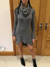 Theory Grey Wool/cashmere High Roll Neck Jumper Dress/one Size/8-12
