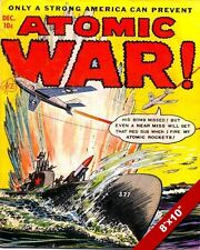 COLD WAR ERA US PROPAGANDA ATOMIC BOMB EXPLOSION WAR COMIC POSTER ON REAL CANVAS