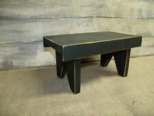 PRIMITIVE WOODEN STOOL/CANDLE RISER/DISTRESSED/COUNTRY/DISPLAY/BLACK/FARM HOUSE