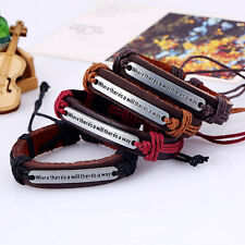 WHERE THERE'S A WILL THERE'S A WAY Verstellbares Cord Lederarmband Neue
