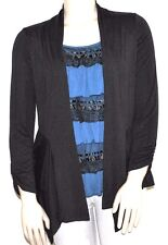 AGB Faux Cardigan with Attached Ruffled Lace Cover, Black/Blue, Large, NEW