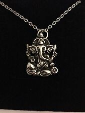 Ganesh R205 English Pewter on a Silver Platinum Plated Necklace 18""