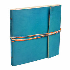 Fair Trade Handmade 3 String Turquoise Leather Photo Album Scrapbook