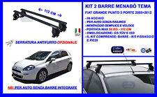 Barre Portatutto Portapacchi Acciaio - Fiat Grande Punto 2005 12 3p Menabò Tema