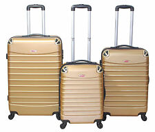 "Gold 3 Piece Spinner Hardside Luggage Set Rolling Lightweight Locking 20""24""28"""