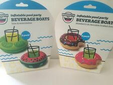 4 Pack Beverage Boat Inflatable Drink Can Holder Pool Floats  Donut Watermelon