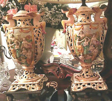 ESPECIALLY NICE PAIR OF VINTAGE CAPODIMONTE LAMPS W/DOUBLE ANGLES