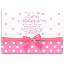 Personalised Girls Birthday Party Invitations / Thank You Cards Baby Pink Bow