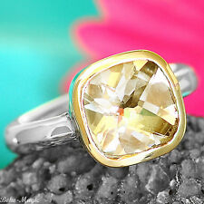 Sterling Silver 925 Ring Square Yellow Topaz Gemstone Classic Golden Band Size