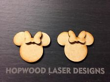 3D Disney Minnie Mouse Heads X15 Mini, MDF Blank Shapes Decoration Wooden