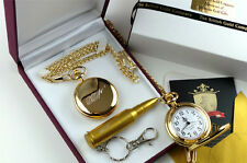 24k Gold Clad JAMES BOND 007 Pocket Watch  & USB Bullet Memory Stick Keyring