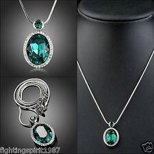 Damen Halskette Swarovski Element Geschenk Etui Original Design Versilbert 293
