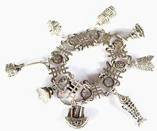 Vintage Chinese Export Silver Charm Bracelet Fish Bell Pagoda Boat Cage Etc