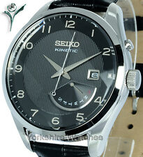 New SEIKO KINETIC BLACK FACE Day Date With LEATHER BUCKLE STRAP SRN051P1